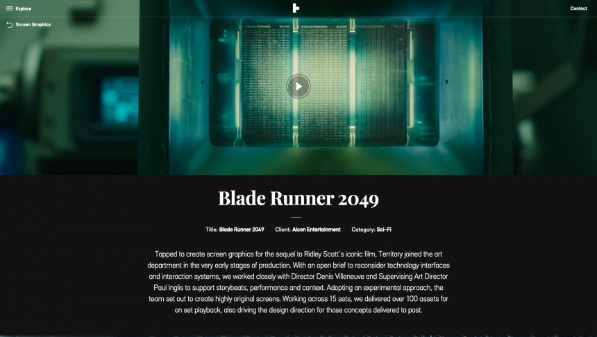 Diseños de interface de Blade Runner 2049